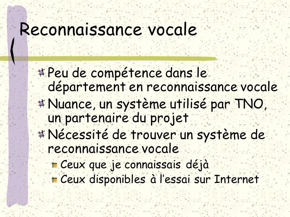 Peu de compétence dans le département en reconnaissance vocale Nuance, un système utilisé par TNO, un partenaire du projet Nécessité de trouver un système de reconnaissance vocale Ceux que je connaissais déjà Ceux disponibles à lessai sur Internet