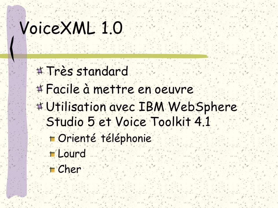 VoiceXML 1.0 Très standard Facile à mettre en oeuvre Utilisation avec IBM WebSphere Studio 5 et Voice Toolkit 4.1 Orienté téléphonie Lourd Cher