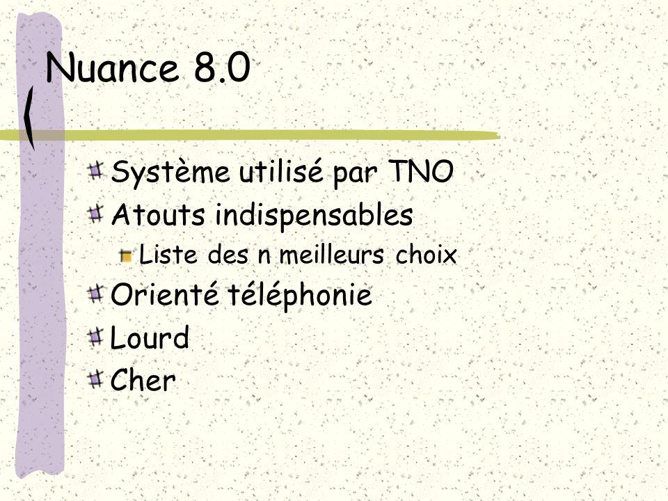 Nuance 8.0 Système utilisé par TNO Atouts indispensables Liste des n meilleurs choix Orienté téléphonie Lourd Cher