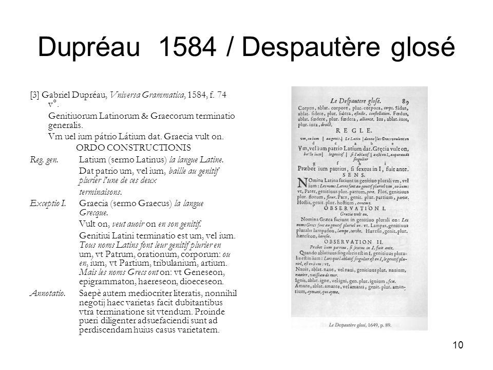 10 Dupréau 1584 / Despautère glosé [3] Gabriel Dupréau, Vniversa Grammatica, 1584, f. 74 v°. Genitiuorum Latinorum & Graecorum terminatio generalis. V