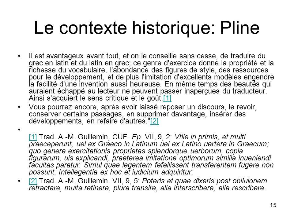 15 Le contexte historique: Pline Il est avantageux avant tout, et on le conseille sans cesse, de traduire du grec en latin et du latin en grec; ce gen