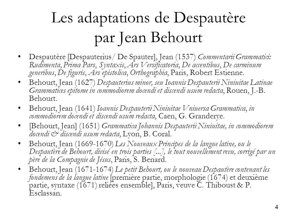 4 Les adaptations de Despautère par Jean Behourt Despautère [Despauterius/ De Spauter], Jean (1537) Commentarii Grammatici: Rudimenta, Prima Pars, Syn