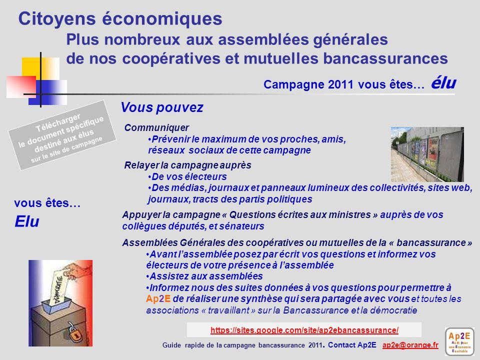 Campagne 2011 vous êtes… une association un réseau web Assemblées Générales des coopérative ou mutuelle de la « bancassurance » Avant lassemblée suggé