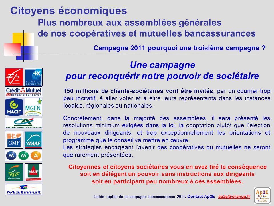 Citoyens économiques Plus nombreux aux assemblées générales de nos coopératives et mutuelles bancassurances Sommaire campagne 2011 Guide rapide de la campagne bancassurance 2011.