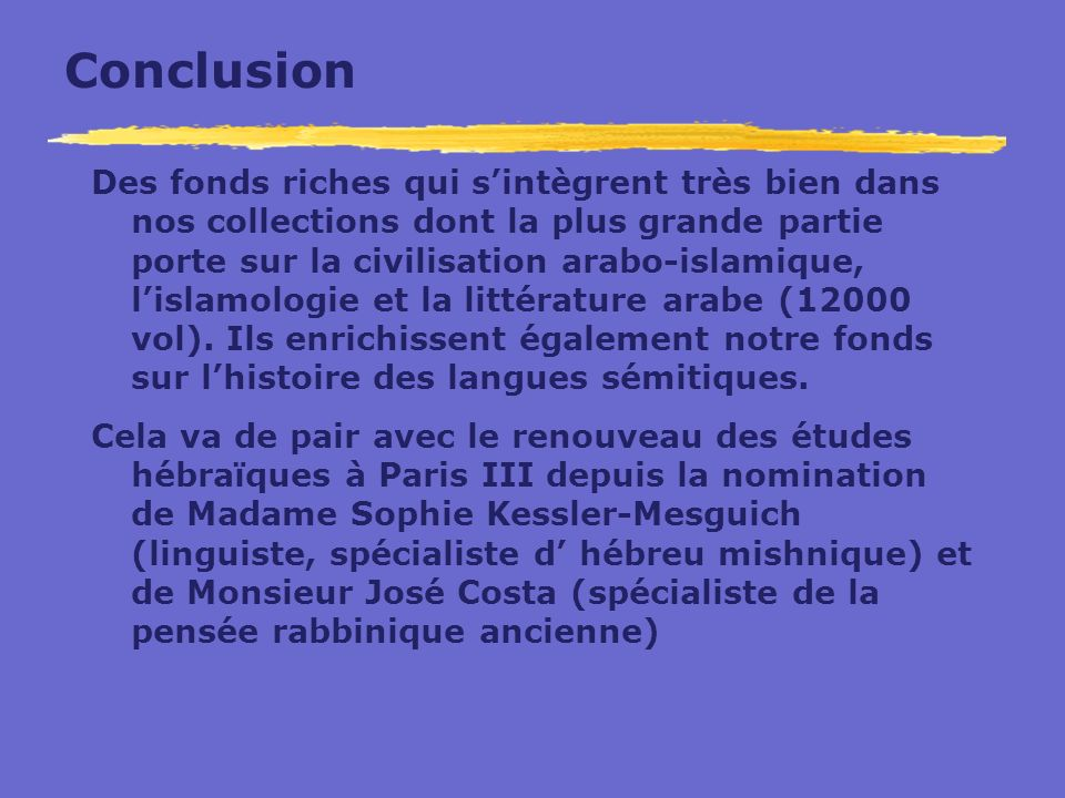 Conclusion Des fonds riches qui sintègrent très bien dans nos collections dont la plus grande partie porte sur la civilisation arabo-islamique, lislam