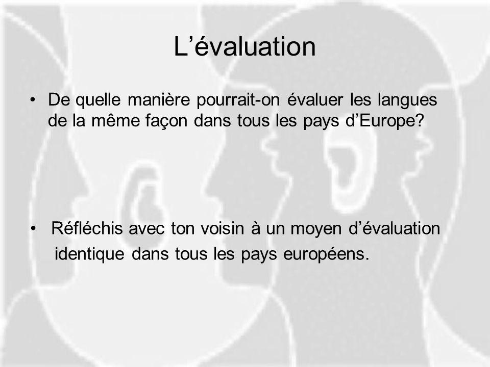 Lévaluation De quelle manière pourrait-on évaluer les langues de la même façon dans tous les pays dEurope? Réfléchis avec ton voisin à un moyen dévalu