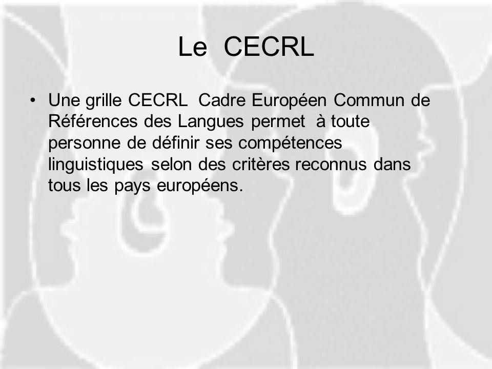 Le CECRL Une grille CECRL Cadre Européen Commun de Références des Langues permet à toute personne de définir ses compétences linguistiques selon des c