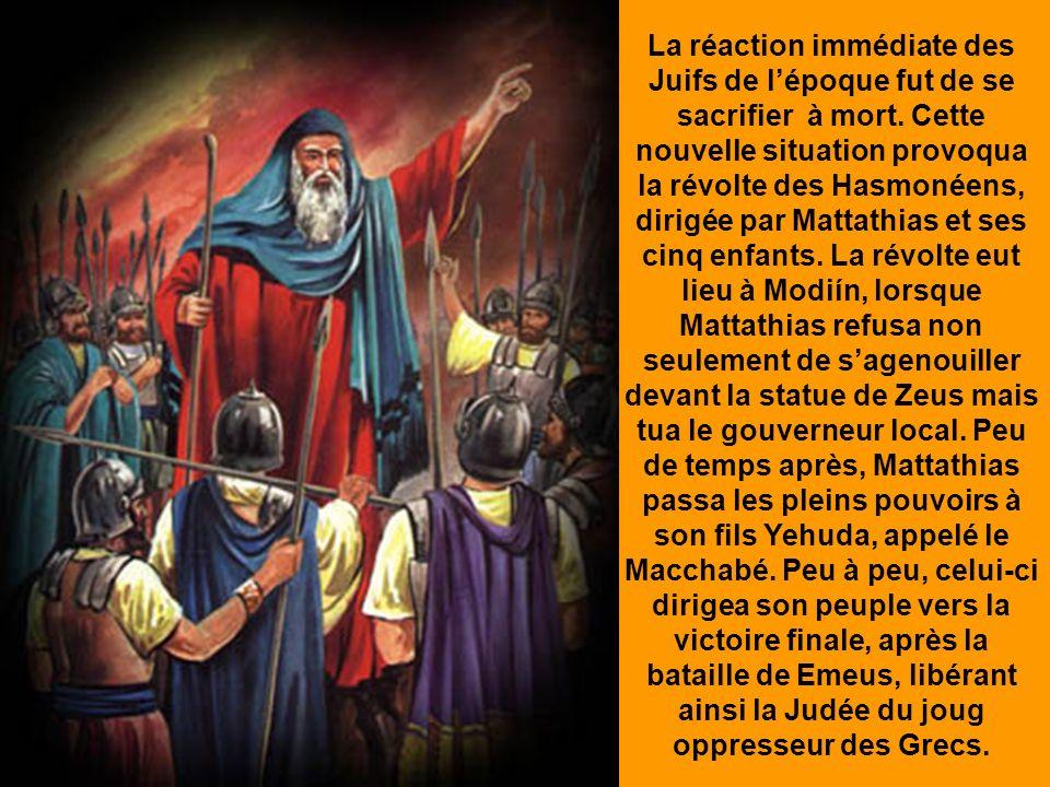 Lorsquil visita Jérusalem, il la saccagea et déshonora son Temple. Au retour dune de ses campagnes militaires, il ordonna aux Juifs de son Royaume: -