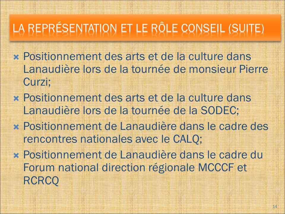Positionnement des arts et de la culture dans Lanaudière lors de la tournée de monsieur Pierre Curzi; Positionnement des arts et de la culture dans Lanaudière lors de la tournée de la SODEC; Positionnement de Lanaudière dans le cadre des rencontres nationales avec le CALQ; Positionnement de Lanaudière dans le cadre du Forum national direction régionale MCCCF et RCRCQ 14