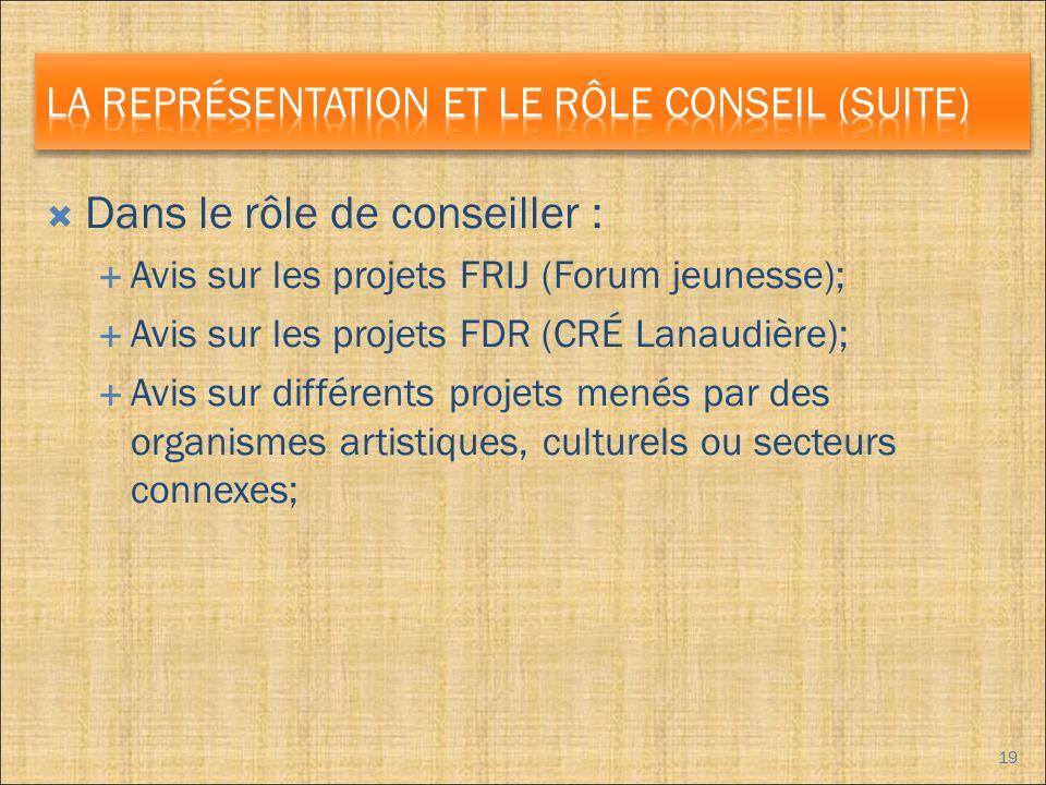 Dans le rôle de conseiller : Avis sur les projets FRIJ (Forum jeunesse); Avis sur les projets FDR (CRÉ Lanaudière); Avis sur différents projets menés par des organismes artistiques, culturels ou secteurs connexes; 19
