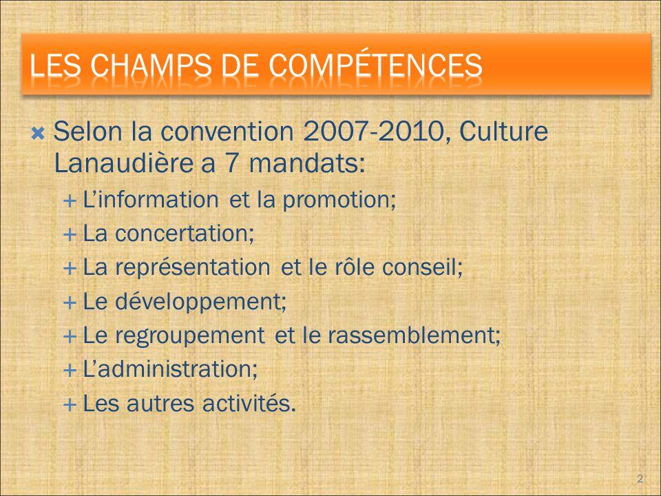 Selon la convention 2007-2010, Culture Lanaudière a 7 mandats: Linformation et la promotion; La concertation; La représentation et le rôle conseil; Le développement; Le regroupement et le rassemblement; Ladministration; Les autres activités.