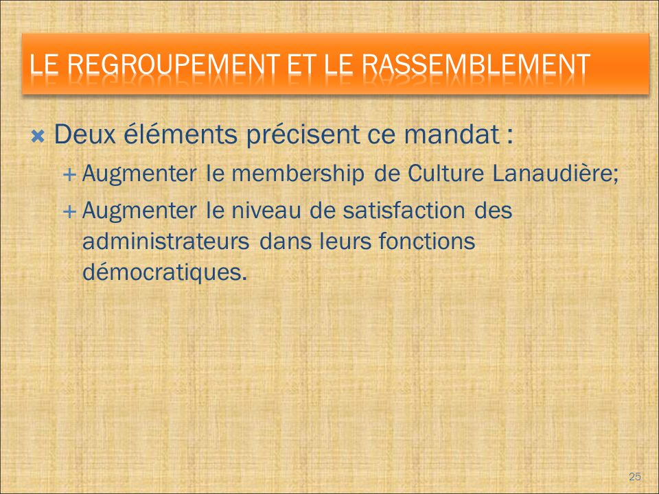 Deux éléments précisent ce mandat : Augmenter le membership de Culture Lanaudière; Augmenter le niveau de satisfaction des administrateurs dans leurs fonctions démocratiques.