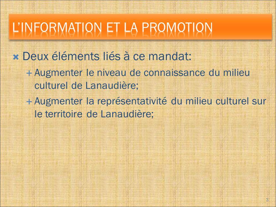 Deux éléments liés à ce mandat: Augmenter le niveau de connaissance du milieu culturel de Lanaudière; Augmenter la représentativité du milieu culturel sur le territoire de Lanaudière; 3