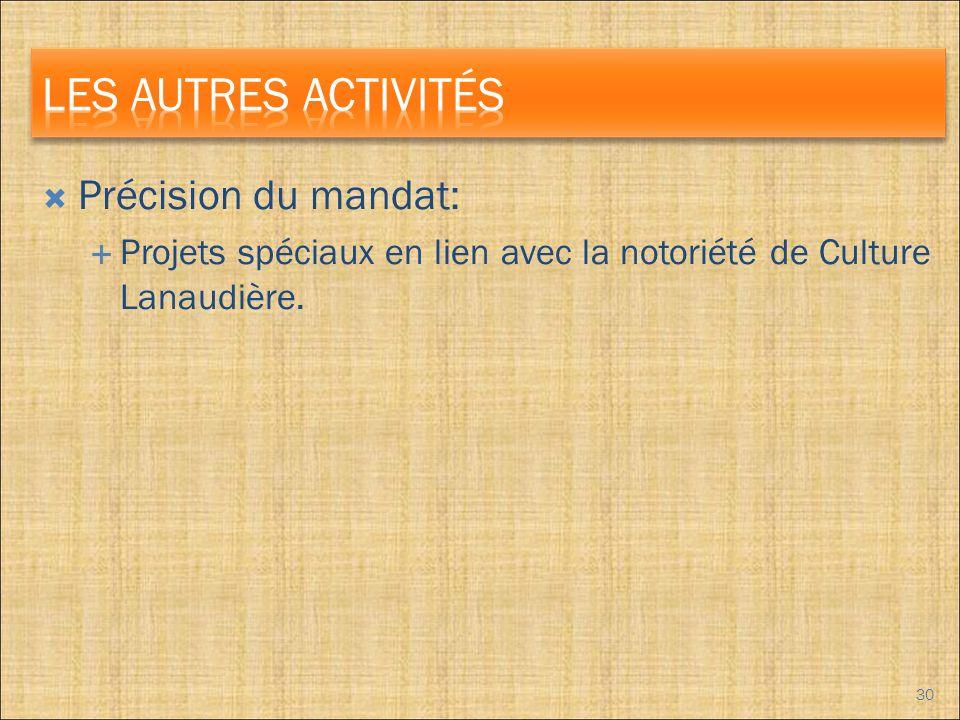 Précision du mandat: Projets spéciaux en lien avec la notoriété de Culture Lanaudière. 30