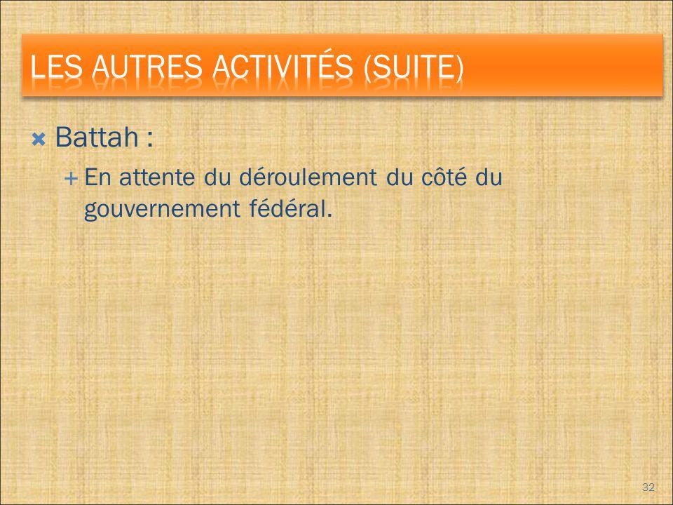 Battah : En attente du déroulement du côté du gouvernement fédéral. 32