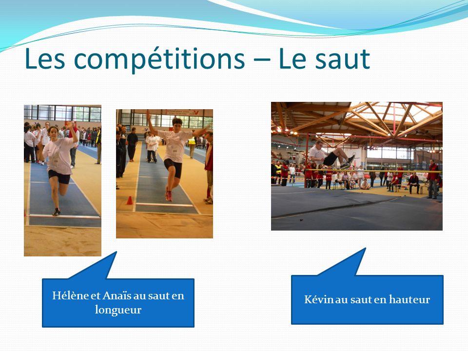 Les compétitions – Le saut Hélène et Anaïs au saut en longueur Kévin au saut en hauteur