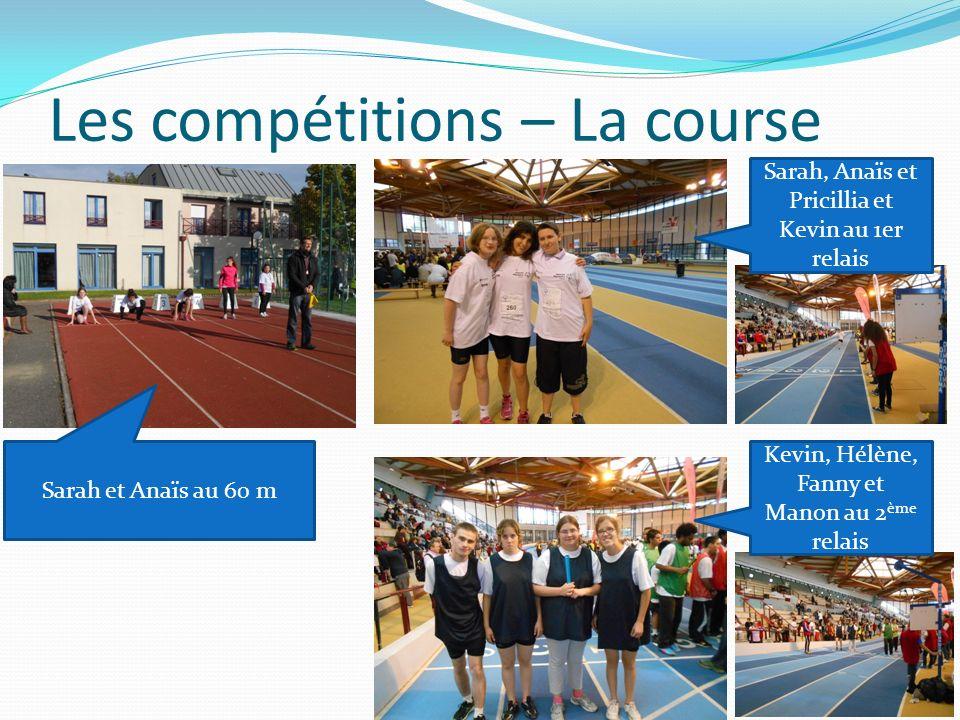 Les compétitions – La course Sarah et Anaïs au 60 m Sarah, Anaïs et Pricillia et Kevin au 1er relais Kevin, Hélène, Fanny et Manon au 2 ème relais