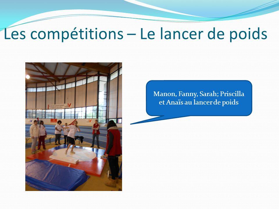 Les compétitions – Le lancer de poids Manon, Fanny, Sarah; Priscilla et Anaïs au lancer de poids