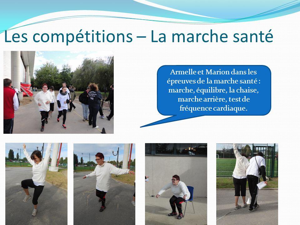 Les compétitions – La marche santé Armelle et Marion dans les épreuves de la marche santé : marche, équilibre, la chaise, marche arrière, test de fréq