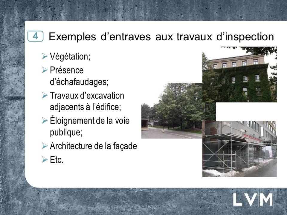 Exemples dentraves aux travaux dinspection 4 Végétation; Présence déchafaudages; Travaux dexcavation adjacents à lédifice; Éloignement de la voie publique; Architecture de la façade Etc.