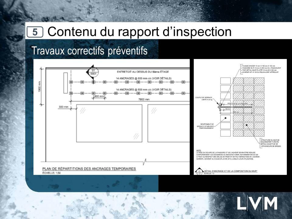 Contenu du rapport dinspection Travaux correctifs préventifs 5