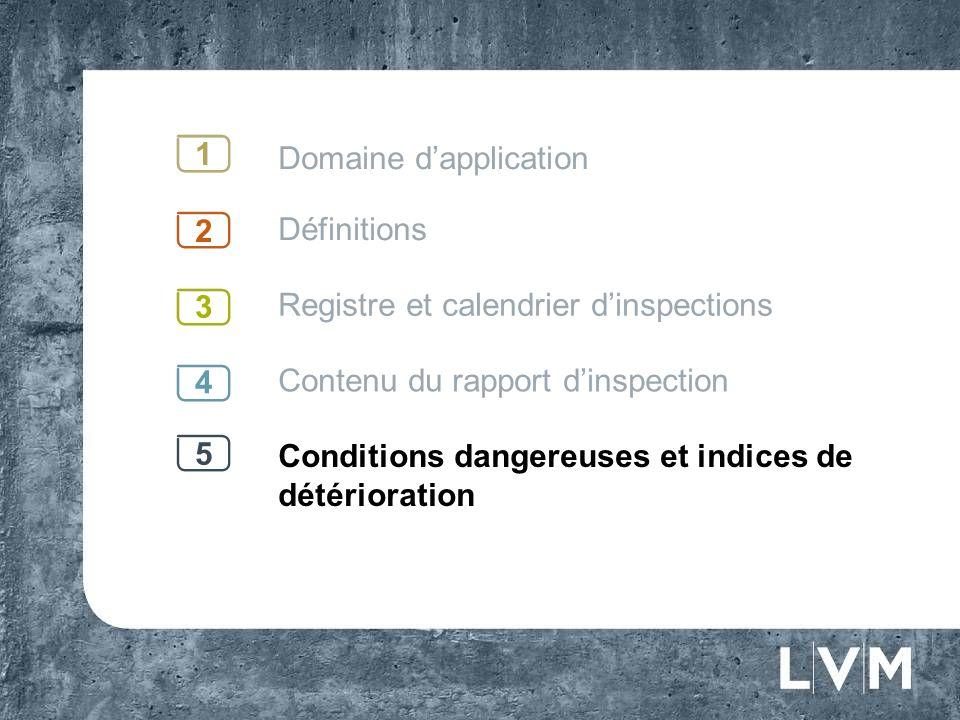 Domaine dapplication Définitions Registre et calendrier dinspections Contenu du rapport dinspection Conditions dangereuses et indices de détérioration 1 2 3 4 5