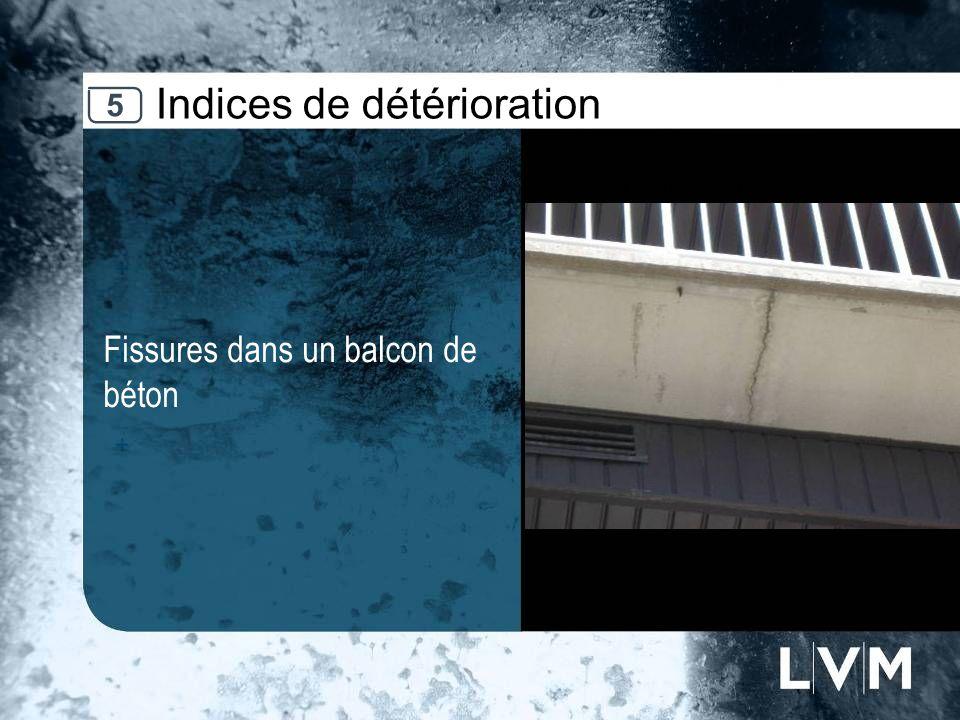 Indices de détérioration Fissures dans un balcon de béton Insert photo 5