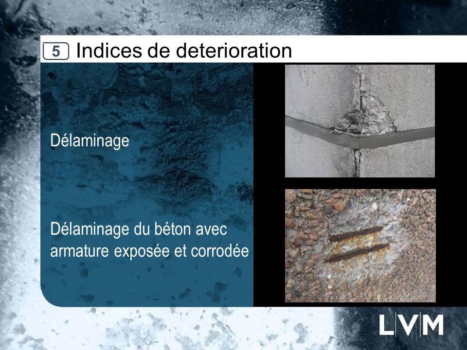 Indices de deterioration Délaminage Délaminage du béton avec armature exposée et corrodée Insert photo 5