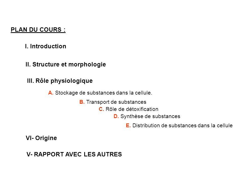 PLAN DU COURS : I. Introduction II. Structure et morphologie III. Rôle physiologique A. Stockage de substances dans la cellule. B. Transport de substa