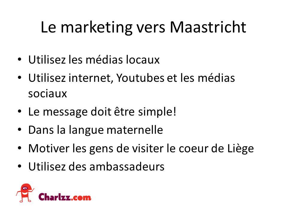 Le marketing vers Maastricht Utilisez les médias locaux Utilisez internet, Youtubes et les médias sociaux Le message doit être simple.