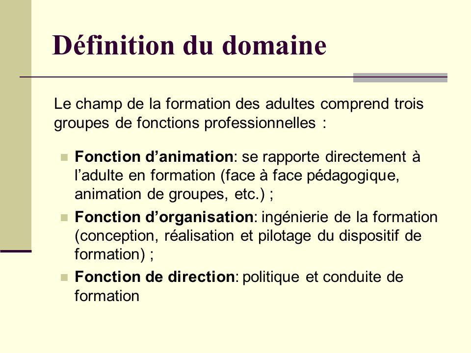 Le champ de la formation des adultes comprend trois groupes de fonctions professionnelles : Fonction danimation: se rapporte directement à ladulte en