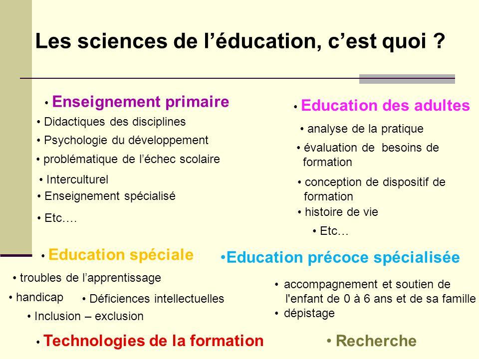 Les sciences de léducation, cest quoi ? Enseignement primaire Education des adultes Didactiques des disciplines Interculturel Technologies de la forma