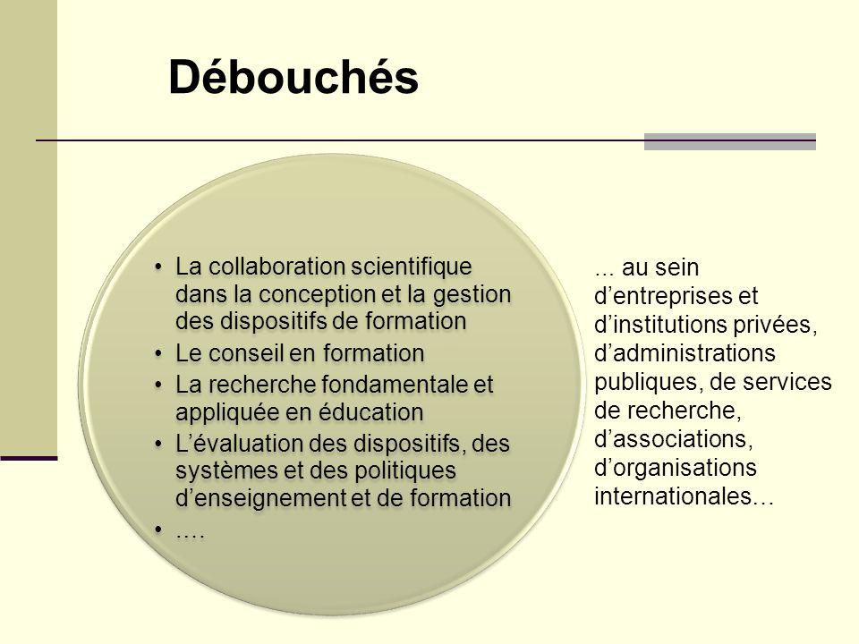 La collaboration scientifique dans la conception et la gestion des dispositifs de formation Le conseil en formation La recherche fondamentale et appli