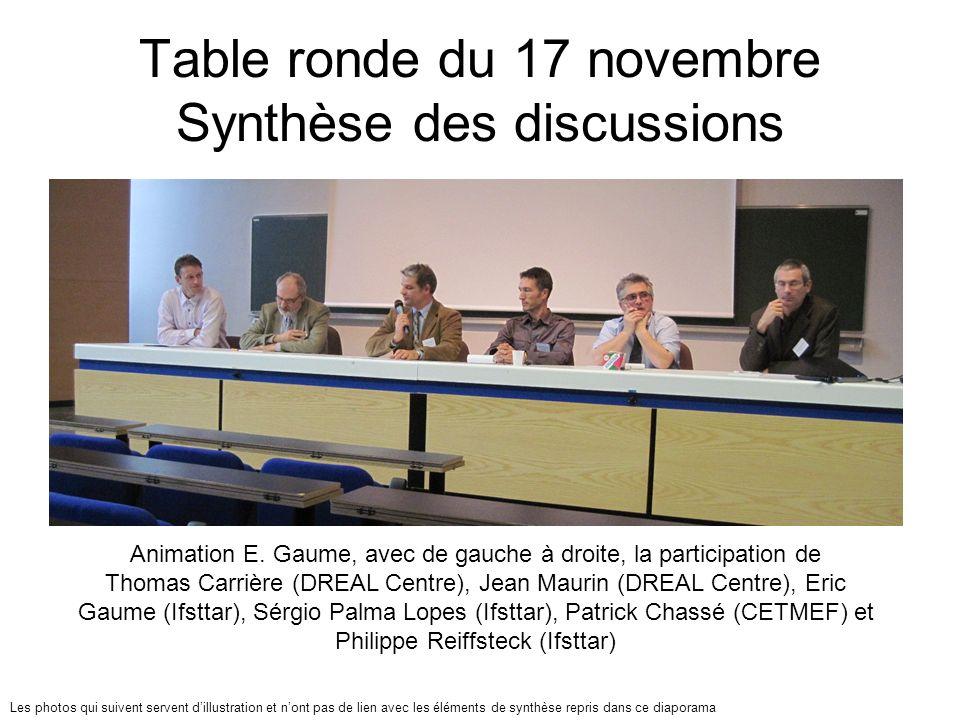 Table ronde du 17 novembre Synthèse des discussions Animation E. Gaume, avec de gauche à droite, la participation de Thomas Carrière (DREAL Centre), J