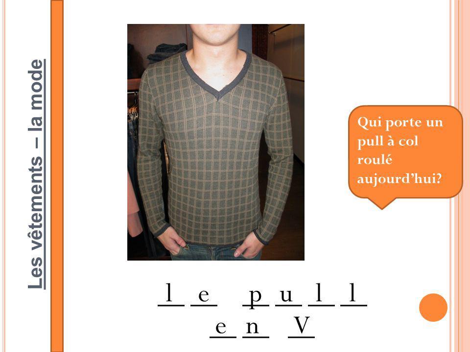 Les vêtements – la mode __ __ __ lepull enV Qui porte un pull à col roulé aujourdhui?