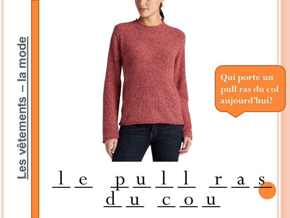 Les vêtements – la mode __ __ __ __ __ __ __ lepullras duco u Qui porte un pull ras du col aujourdhui