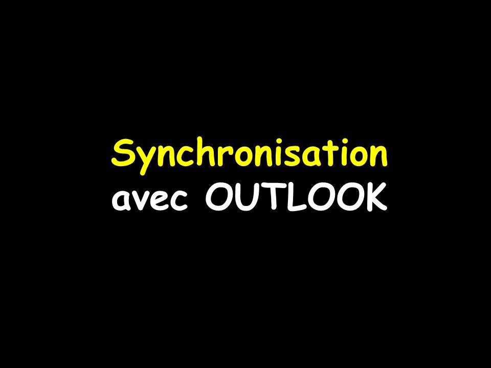 Lors de la première synchronisation, lagenda de Outlook doit être vide