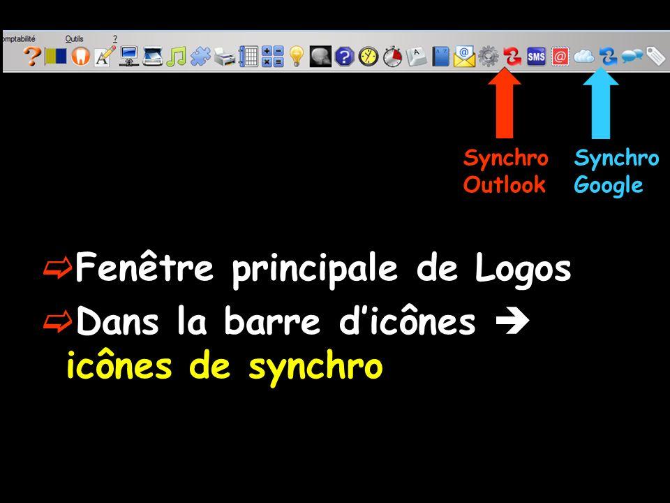 Fenêtre principale de Logos Dans la barre dicônes icônes de synchro Synchro Outlook Synchro Google