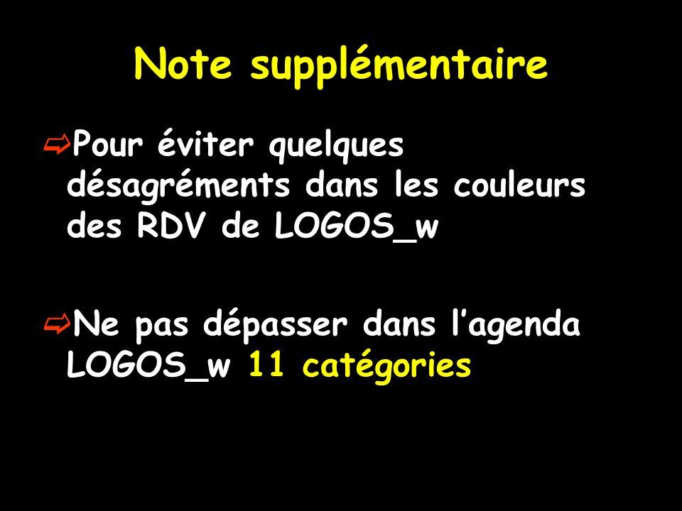 Note supplémentaire Pour éviter quelques désagréments dans les couleurs des RDV de LOGOS_w Ne pas dépasser dans lagenda LOGOS_w 11 catégories