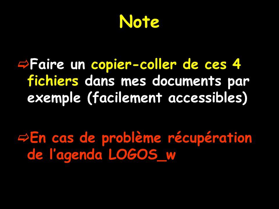 Note Faire un copier-coller de ces 4 fichiers dans mes documents par exemple (facilement accessibles) En cas de problème récupération de lagenda LOGOS