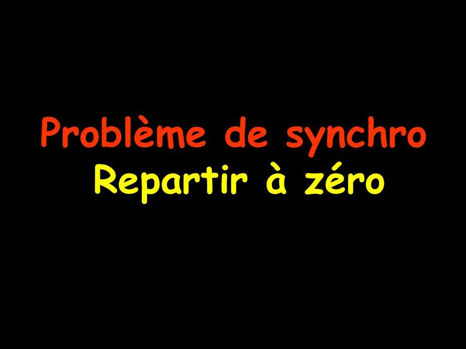 Problème de synchro Repartir à zéro
