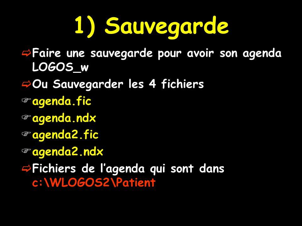 1) Sauvegarde Faire une sauvegarde pour avoir son agenda LOGOS_w Ou Sauvegarder les 4 fichiers agenda.fic agenda.ndx agenda2.fic agenda2.ndx Fichiers