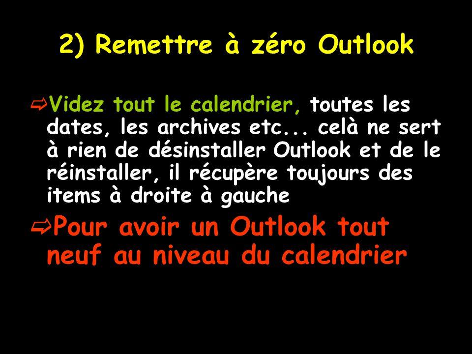 2) Remettre à zéro Outlook Videz tout le calendrier, toutes les dates, les archives etc... celà ne sert à rien de désinstaller Outlook et de le réinst