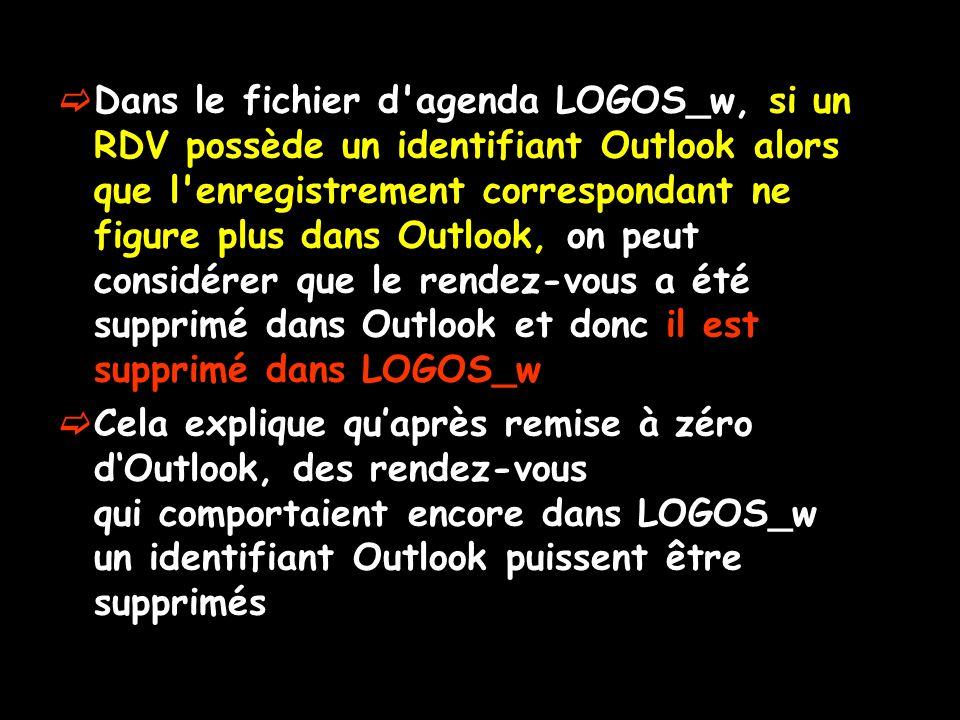 Dans le fichier d'agenda LOGOS_w, si un RDV possède un identifiant Outlook alors que l'enregistrement correspondant ne figure plus dans Outlook, on pe