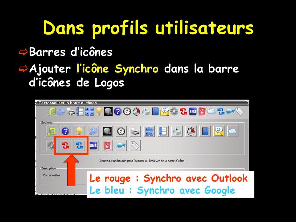 Dans profils utilisateurs Barres dicônes Ajouter licône Synchro dans la barre dicônes de Logos Le rouge : Synchro avec Outlook Le bleu : Synchro avec