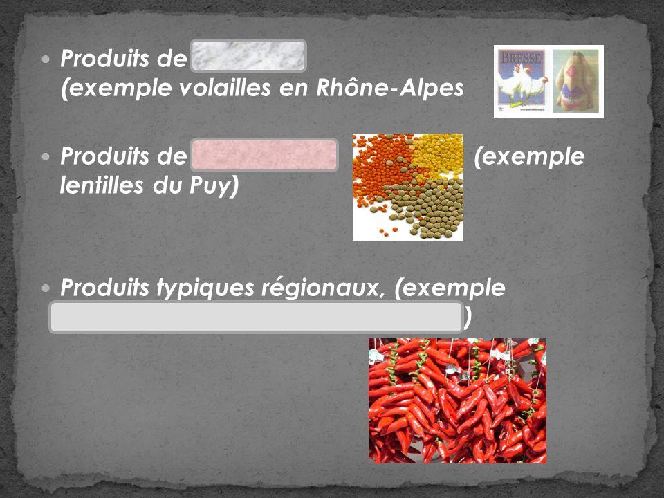 Produits de lélevage (exemple volailles en Rhône-Alpes Produits de lagriculture (exemple lentilles du Puy) Produits typiques régionaux, (exemple piment dEspelette au Pays Basque)