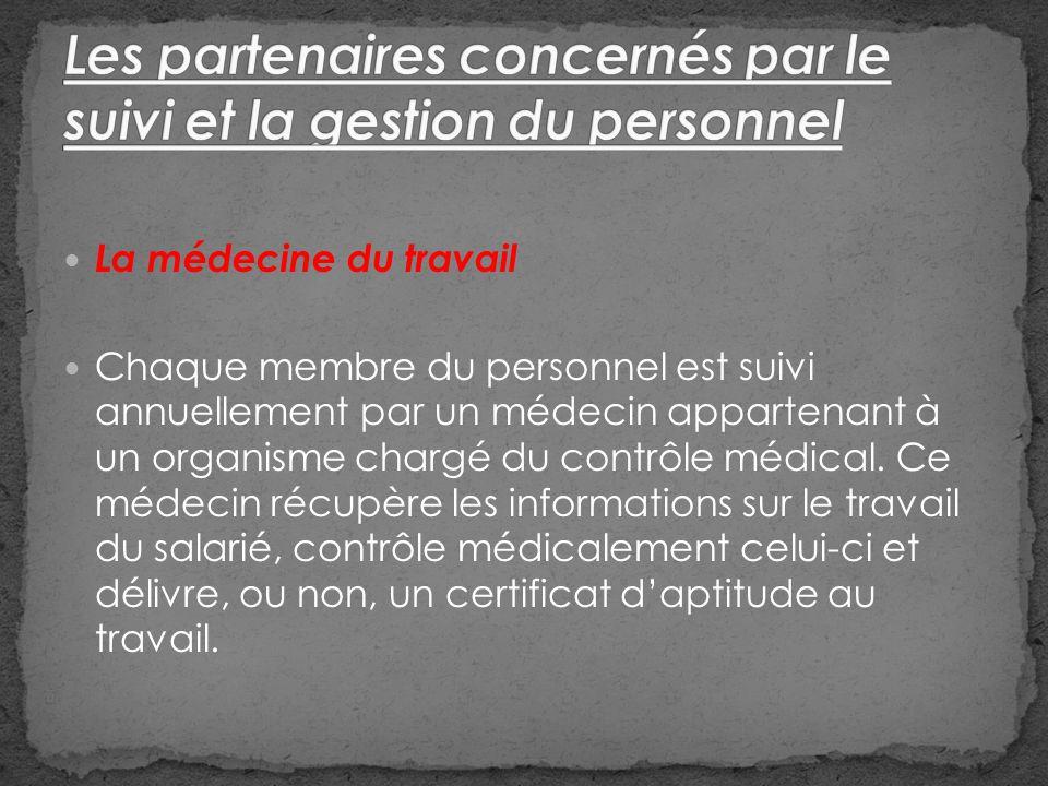 La médecine du travail Chaque membre du personnel est suivi annuellement par un médecin appartenant à un organisme chargé du contrôle médical.