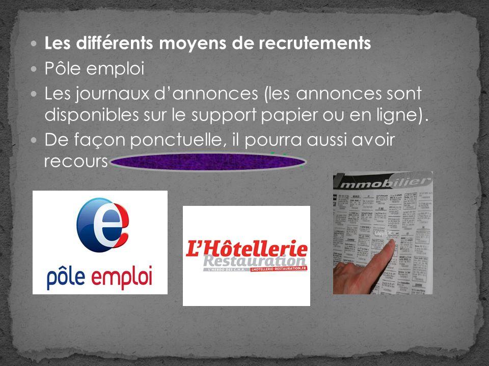 Les différents moyens de recrutements Pôle emploi Les journaux dannonces (les annonces sont disponibles sur le support papier ou en ligne).