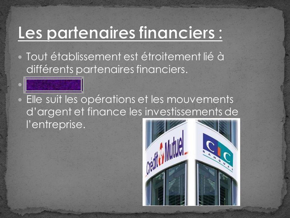Tout établissement est étroitement lié à différents partenaires financiers.