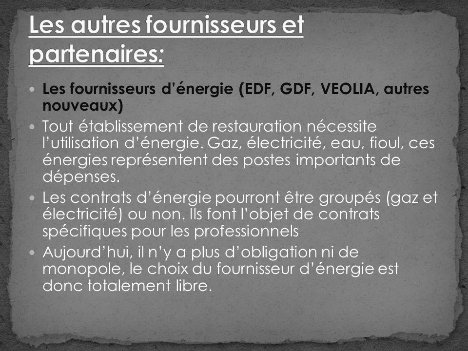 Les fournisseurs dénergie (EDF, GDF, VEOLIA, autres nouveaux) Tout établissement de restauration nécessite lutilisation dénergie.